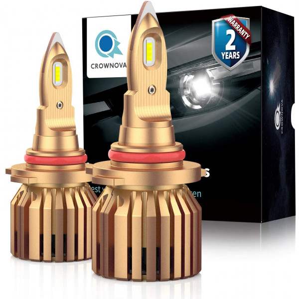 Crownova B2 9012 led headlight bulbs 8000 lumens 60W 6000K daylight white external driver with load resistor and anti-flicker CANbus decoder 2-pack